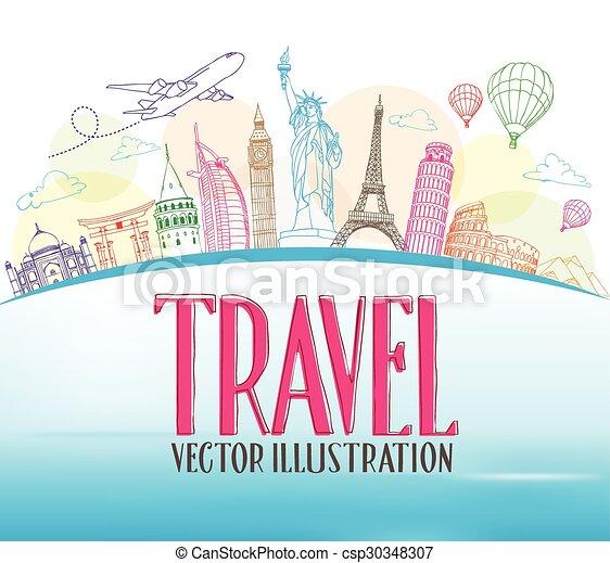 Viajar el fondo de diseño mundial - csp30348307