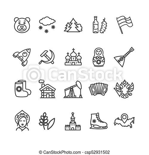 Rusia viaja y turismo negro línea icono. Vector - csp52931502
