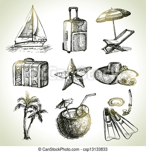 Juego de viaje. Ilustraciones dibujadas a mano - csp13133833