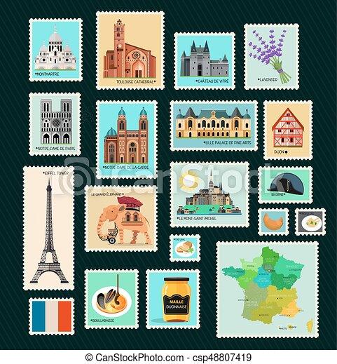 Los sellos de viaje de Francia. - csp48807419