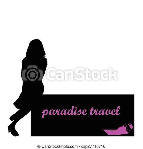 El paraíso viaja con chicas y vector de barco - csp27710716