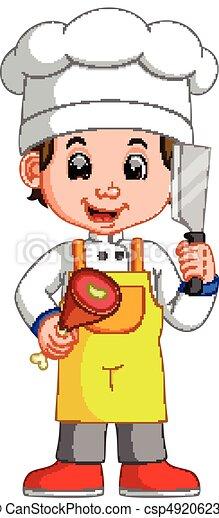 Viande chef cuistot tenue cuisinier couperet sourire - Chef cuisinier dessin ...