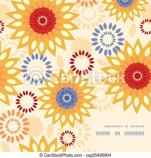 vibrant, abstract, warme, achtergrondmodel, floral, hoek, frame - csp20406904