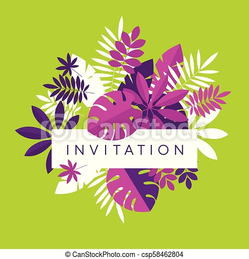 Vibrant Bright Simple Tropical Leaves Design Element For Header Card Invitation Poster Cover And Other Web And Print Canstock Download premium png of hand drawn tropical leaves png transparent background by manotang about leaf, leave, botanical, plant and. can stock photo