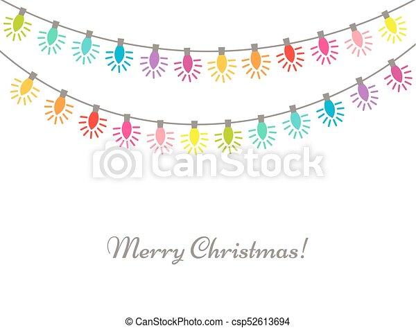 Christmas Chain Clipart.Vibrant Christmas Lights Colors Chain