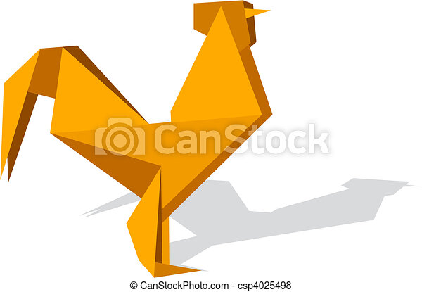 Vibrant colors Origami rooster - csp4025498