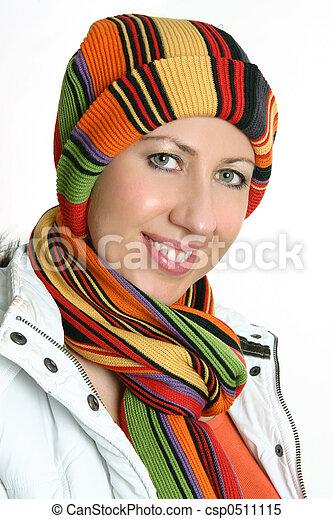 vibrant, femme, hiver, habillé - csp0511115
