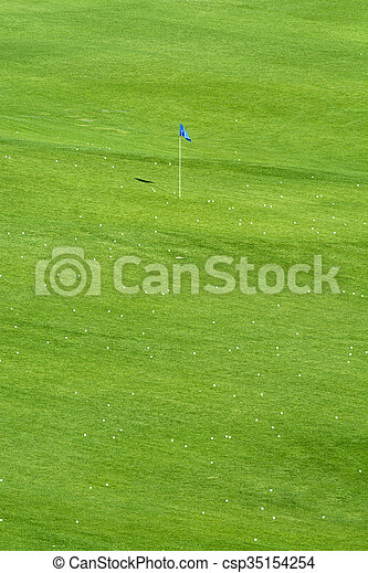 Vibrant golf course and flag - csp35154254