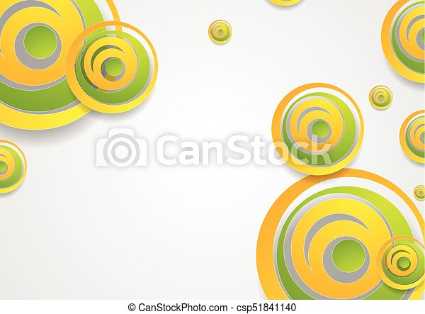 Vibrant Green And Orange Creative Circles Abstract Background
