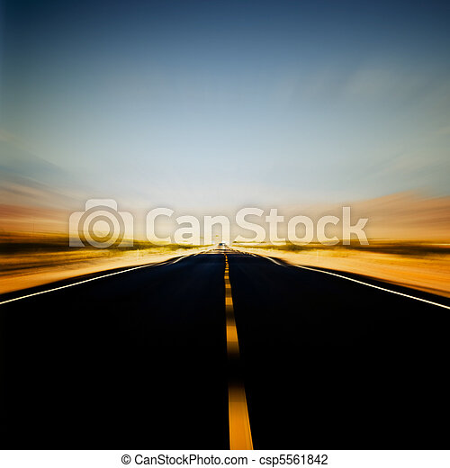 vibrant image of highway and blue sky - csp5561842