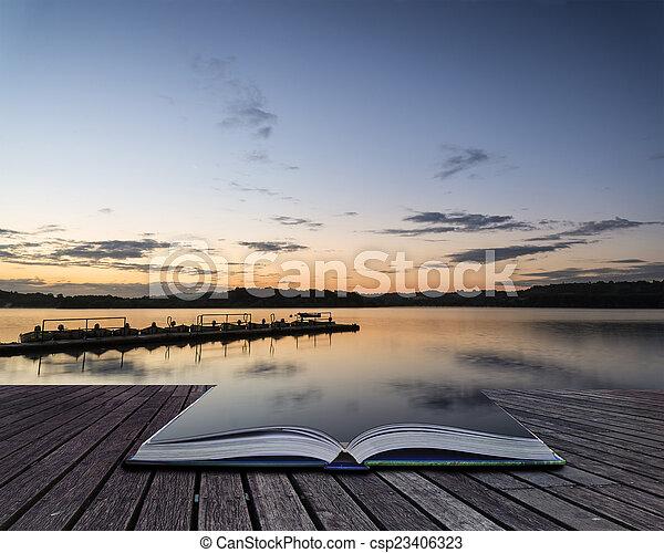 vibrant, jetée, lac, livre, paysage, conceptuel, levers de soleil, calme - csp23406323