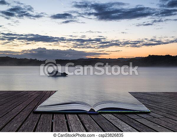 vibrant, lac, bateau, livre, levers de soleil, conceptuel, paysage, calme - csp23826835