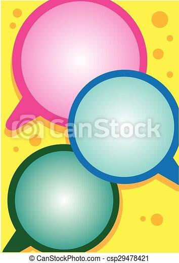 Vibrant Layout Design with Speech Balloons - csp29478421