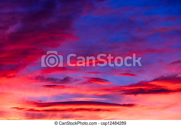 Vibrant Sunset Sky - csp12484289