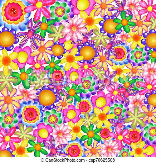 Vibrant Watercolor Floral Daisy Garden - csp76625508