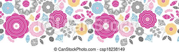 vibrante, scaterred, seamless, padrão experiência, floral, horizontais - csp18238149