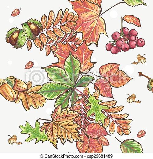 Viburnum Kastanien Muster Eicheln Seamless Blätter Herbstlich