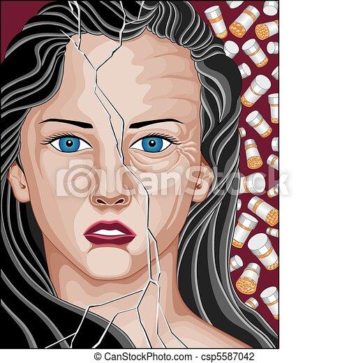 viciado, mulher, medicamento prescrito - csp5587042