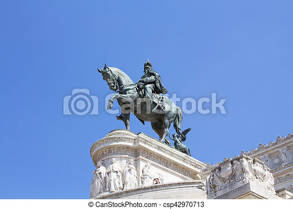Victor Emmanuel II statue at Altar of the Fatherland in Rome. The Altare della Patria is a monument built in honor of the first king of a unified Italy. - csp42970713