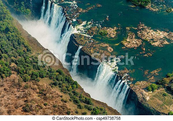 Victoria Falls At Drought Aerial Shot