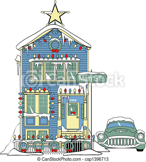 House With Christmas Lights Clipart.Victorian Home Decorated Christmas