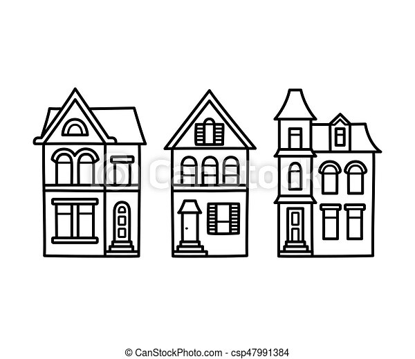 Victorian Houses Illustration Old Victorian Style