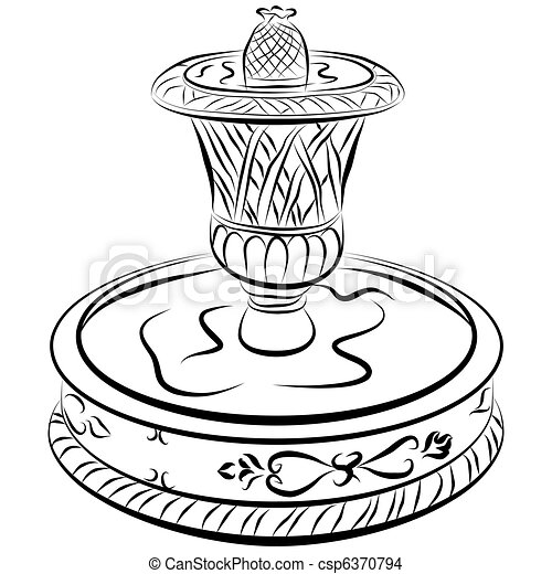 Victorian Water Fountain Line Drawing - csp6370794