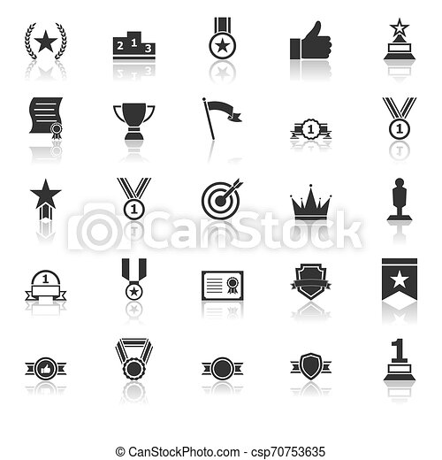 Victory icons with reflect on white background - csp70753635