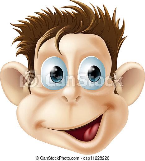 vidám arc, nevető, majom, karikatúra - csp11228226