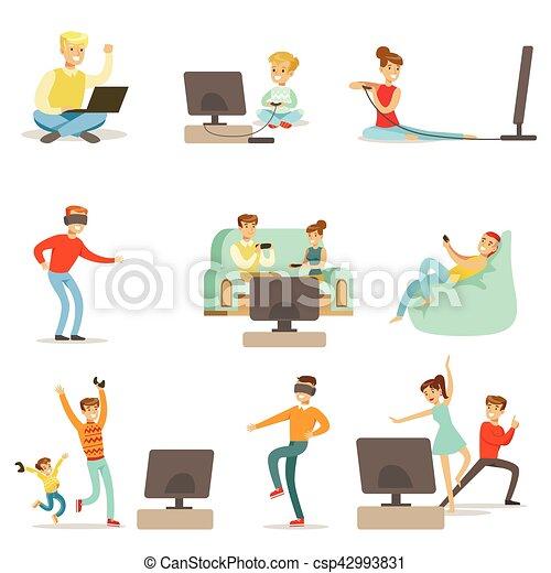 vidéo, ensemble, gens, jouer, élevé, jeux, caractères, technologie, technologies, dessin animé, heureux - csp42993831