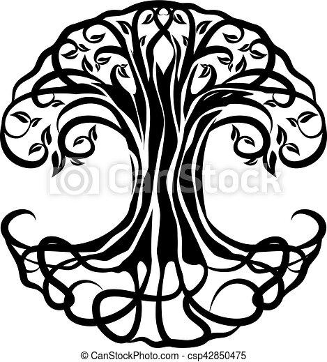 Vida árbol Vida Silueta Encima árbol Plano De Fondo Blanco