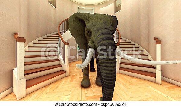Elefante en la sala 3D de interpretación - csp46009324