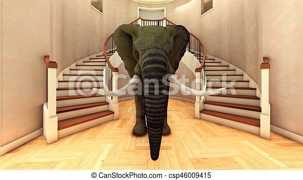 Elefante en la sala 3D de interpretación - csp46009415