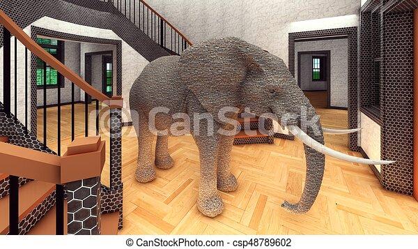 Elefante en la sala 3D de interpretación - csp48789602