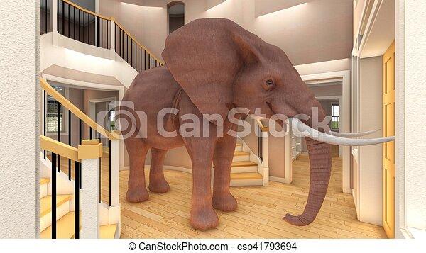 Elefante en la sala 3D de interpretación - csp41793694