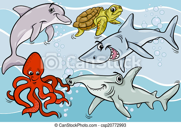 Animales de la vida marina y dibujos de peces - csp20772993
