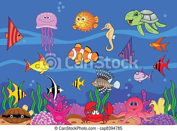 Dibujos animados de vida marina - csp8394785