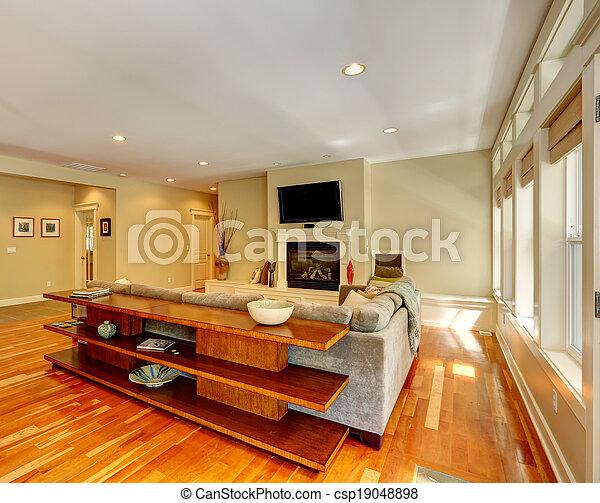 Salón de lujo con chimenea - csp19048898