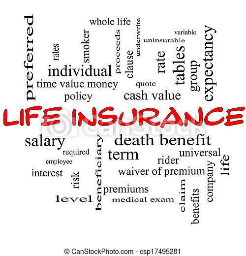 El concepto de la palabra del seguro de vida en una pizarra - csp17495281