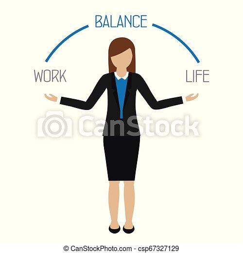 Trabajo de equilibrio de vida carácter mujer de negocios - csp67327129