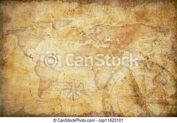 vida, envelhecido, antigas, tesouro, régua, corda, mapa, compasso, bronze, ainda - csp11623101