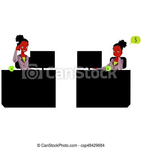 vida, escritório, executiva, aborrecido, falando, telefone, africano, pretas, secretária - csp48429684
