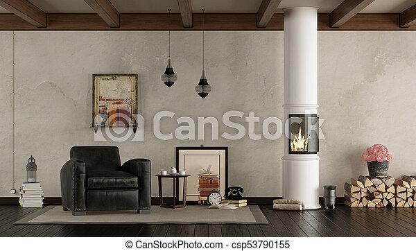 Vida Estufa Madera Habitacion Retro Sala Clasico Sillon - Habitacion-retro