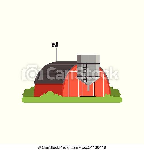 Vida, granja, objeto, ilustración, campo, vector, torre, silo ...