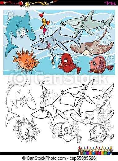 Vida, grupo, color, pez, libro, caracteres, marina. Vida ...