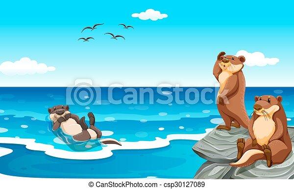 Vida, nutria, mar, océano. Vida, nutria, mar, ilustración, océano.