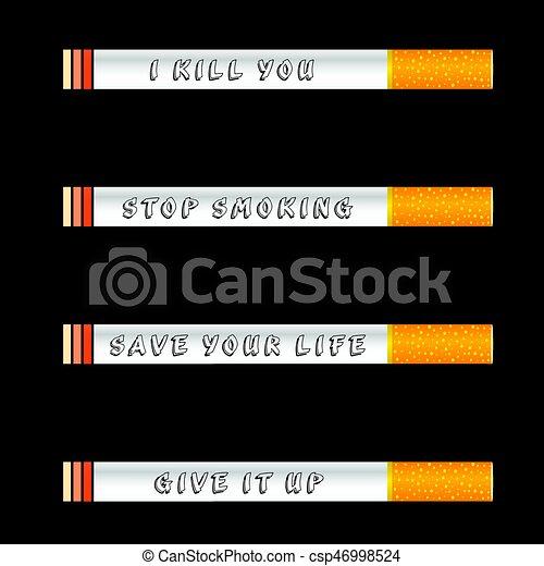 Deja de fumar y salva la ilustración de icono de vida en el fondo negro - csp46998524
