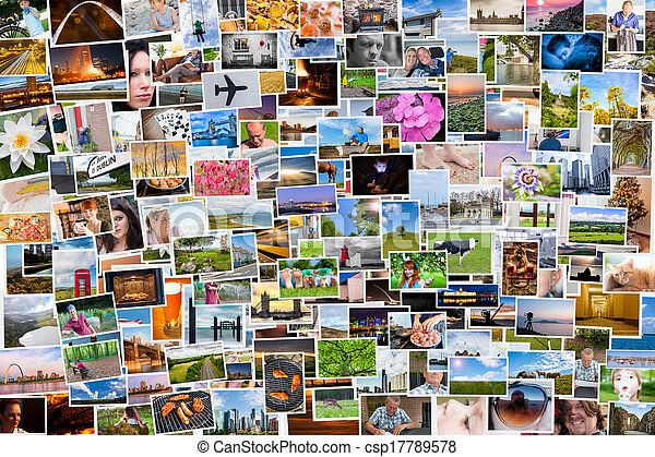 vida, relação, pessoas, colagem, fotografias, 6x4 - csp17789578