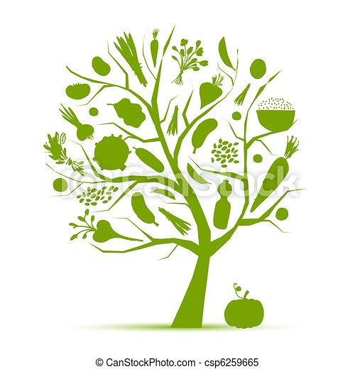 vida, saudável, árvore, legumes, -, verde, desenho, seu - csp6259665