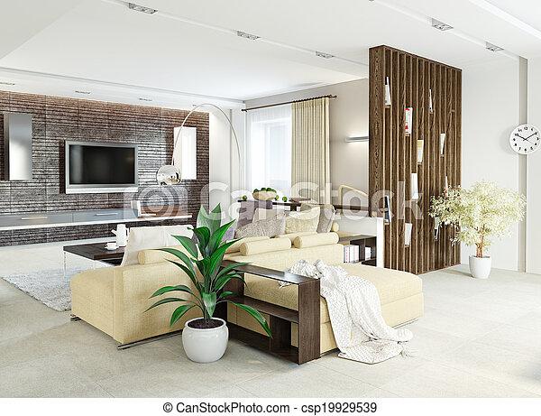 Sala de estar moderna - csp19929539